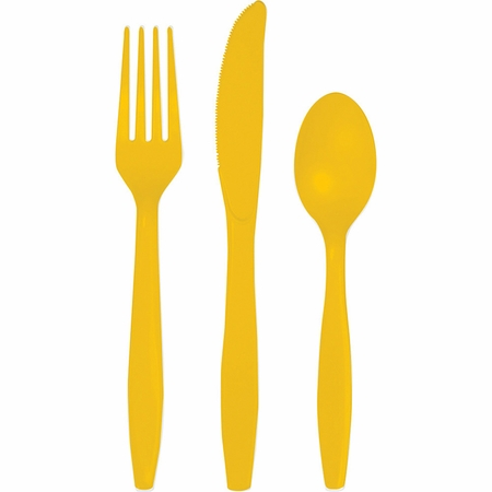 School Bus Yellow Assorted Cutlery 216 ct