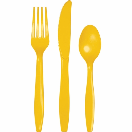 Touch of Color School Bus Yellow Assorted Plastic Cutlery in quantities of 24 / pkg, 12 pkgs / case
