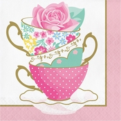 Floral Tea Party Teacups Luncheon Napkins 192 ct