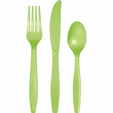 Touch of Color Fresh Lime Assorted Plastic Cutlery 288 ct in quantities of 24 / pkg, 12 pkgs / case