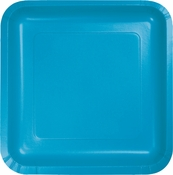Touch of Color Turquoise Square Dinner Plates in quantities of 18 / pkg, 10 pkgs / case