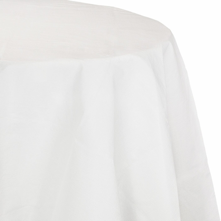 Touch of Color White Octy-Round Paper Tablecloths in quantities of 1 / pkg, 12 pkgs / case