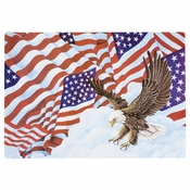 "Red, White, and Blue Patriotic Flags 9.75"" x 14"" Placemat in quantities of 1,000 / case"