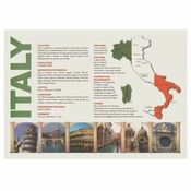 "White Map of Italy Dollar-wise 10"" x 14"" Placemat, 100 % recycled paper, flat packed in quantities of 1000 / case"
