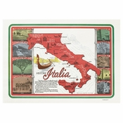 "White and Blue Historic Italia Dollar-wise 10"" x 14"" Placemat, 100 % recycled paper, flat packed in quantities of 1000 / case"