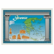 "Blue Map of Greece Dollar-wise 10"" x 14"" Placemat, 100 % recycled paper, flat packed in quantities of 1000 / case"
