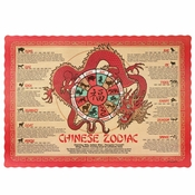 "Red Chinese Zodiac Dollar-wise 9.5"" x 13.375"" Placemat, 100 % recycled paper, flat packed in quantities of 1000 / case"