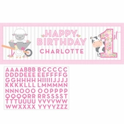 Farmhouse 1st Birthday Girl Large Banners 6 ct