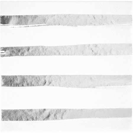 White and Silver Foil Striped Luncheon Napkins 192 ct