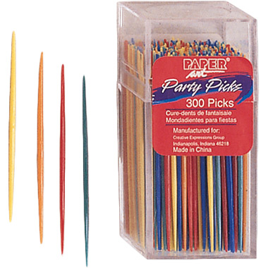 Multi-color Party Picks measure 2.75 inches and are sold in quantities of 300 / pkg, 12 pkgs / case