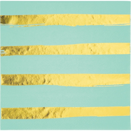 Fresh Mint Green and Gold Foil Striped Luncheon Napkins 192 ct