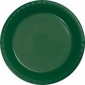 Touch of Color Hunter Green Plastic Banquet Plates in quantities of 20 / pkg, 12 pkgs / case