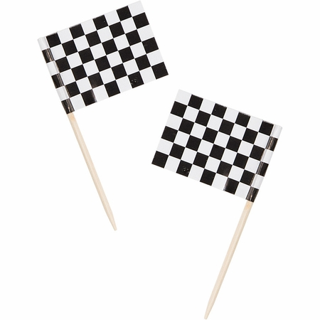 Black & White Check Flag Picks 600 ct