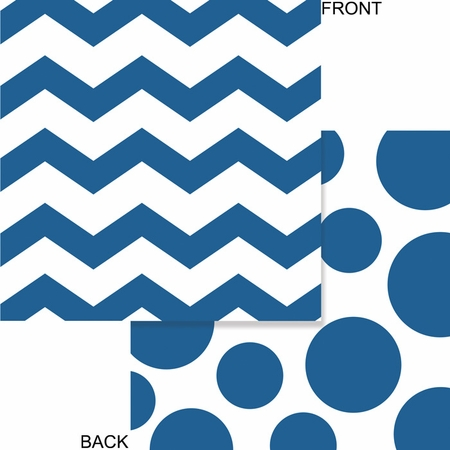 True blue and white Chevron and Polka Dots Luncheon Napkins measure 6.375 inches and are sold in quantities of 16 / pkg, 12 pkgs / case
