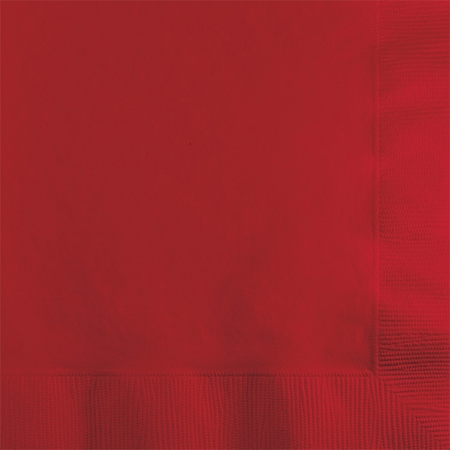 Touch of Color Classic Red 2 ply Beverage Napkins in quantities of 50 / pkg, 12 pkgs / case