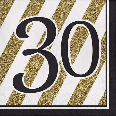 Black and Gold 30th Birthday Luncheon Napkins 192 ct