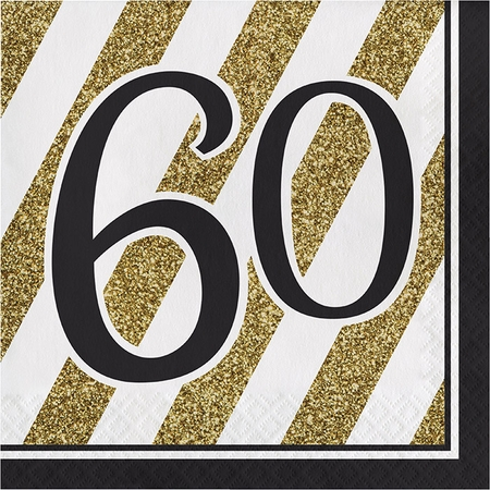 Black and Gold 60th Birthday Luncheon Napkins 192 ct