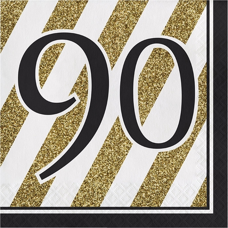 Black and Gold 90th Birthday Luncheon Napkins 192 ct
