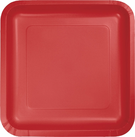 Touch of Color Classic Red Square Dinner Plates in quantities of 18 / pkg, 10 pkgs / case
