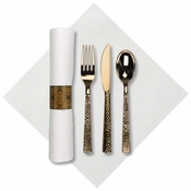 "8"" x 8.5"" Pre-rolled Linen-Like CaterWrap White Napkins with Gold Hammered Cutlery 100 ct"