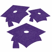 Purple Mortarboard Graduation Cutouts 72 ct