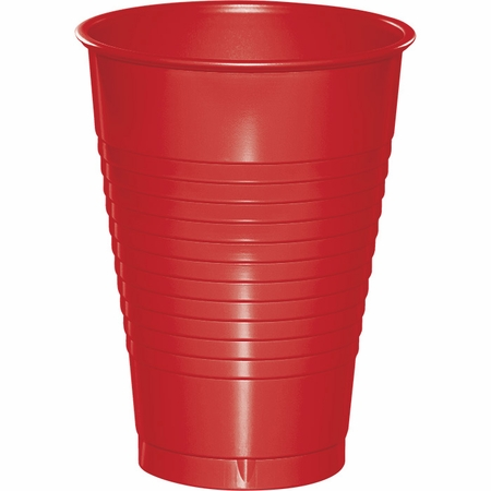 Touch of Color Classic Red 12 oz Plastic Cups in quantities of 20 / pkg, 12 pkgs / case