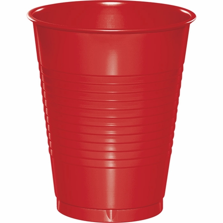 Touch of Color Classic Red 16 oz Plastic Cups in quantities of 20 / pkg, 12 pkgs / case