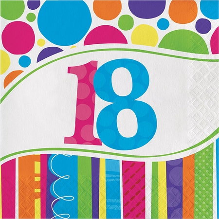 Bright And Bold 18th Birthday Luncheon Napkins 216 ct