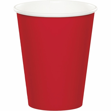 Touch of Color Classic Red 9 oz Hot & Cold Cups in quantities of 24 / pkg, 10 pkgs / case