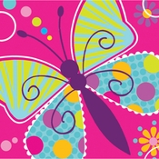 Pink Butterfly Sparkle Beverage Napkins sold in quantities of 16 / pkg, 12 pkgs / case.