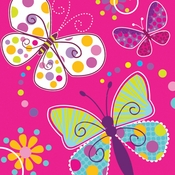 Pink Butterfly Sparkle Luncheon Napkins sold in quantities of 16 / pkg, 12 pkgs / case.