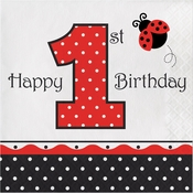 Ladybug Fancy 1st Birthday Luncheon Napkins 192 ct