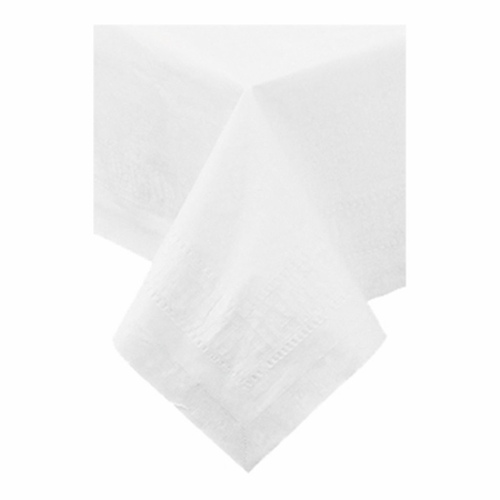 """White Cellutex 82"""" x 82"""" Paper Tablecloths are sold in quantities of 1 / pkg, 25 pkgs / case"""
