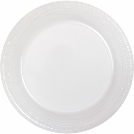 Touch of Color Clear Plastic Dinner Plates in quantities of 20 / pkg, 12 pkgs / case