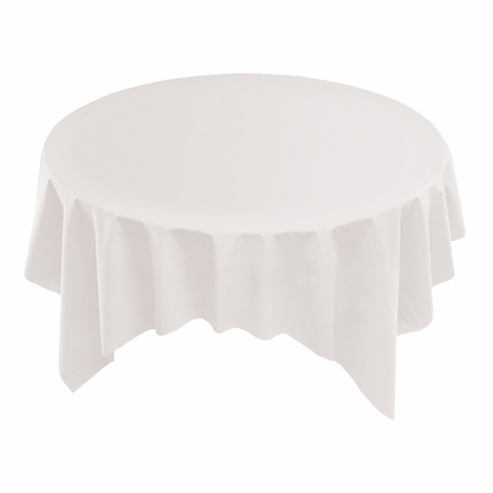 """White Linen-Like 72"""" x 72"""" Tablecloths are sold in quantities of 1 / pkg, 24 pkgs / case"""