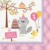 Happi Woodland Girl 1st Birthday Luncheon Napkins 192 ct