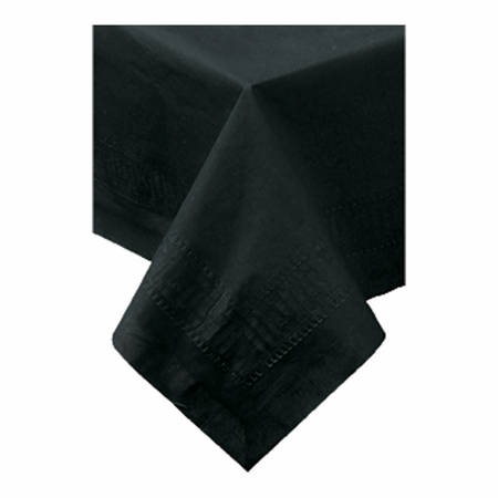 """Black Cellutex Square Paper Tablecloths measures 54"""" x 54"""" constructed of 2 ply tissue, 1 ply poly and sold in quantities of 1 / pkg, 50 pkgs / case"""