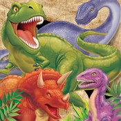 Green, orange and purple Dino Blast Luncheon Napkins sold in quantities of 16 / pkg, 12 pkgs / case.