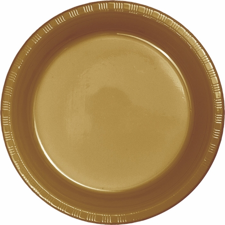 Touch of Color Glittering Gold Plastic Dinner Plates in quantities of 20 / pkg, 10 pkgs / case