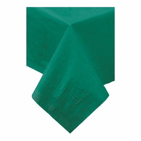 """Hunter Green Cellutex Square Paper Tablecloths measures 54"""" x 54"""" constructed of 2 ply tissue, 1 ply poly and sold in quantities of 1 / pkg, 50 pkgs / case"""