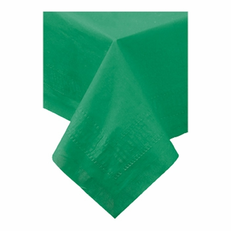 """Jade Cellutex Square Paper Tablecloths measures 54"""" x 54"""" constructed of 2 ply tissue, 1 ply poly and sold in quantities of 1 / pkg, 50 pkgs / case"""