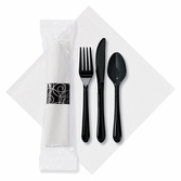 8.5 in x 8.5 in Wrapped Pre-rolled Linen-Like CaterWrap White Napkins with Black Cutlery 100 ct