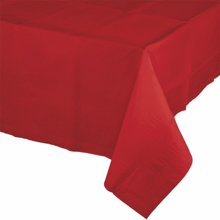 Touch of Color Classic Red Paper Tablecloths in quantities of 1 / pkg, 6 pkgs / case