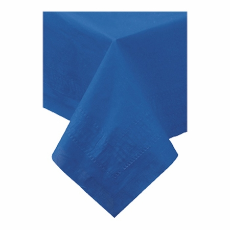 "Navy Cellutex  Square Paper Tablecloths measures 54"" x 54"" constructed of 2 ply tissue, 1 ply poly and sold in quantities of 1 / pkg, 50 pkgs / case"