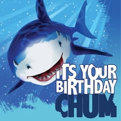 Blue Shark Splash Happy Birthday Luncheon Napkins sold in quantities of 16 / pkg, 12 pkgs / case