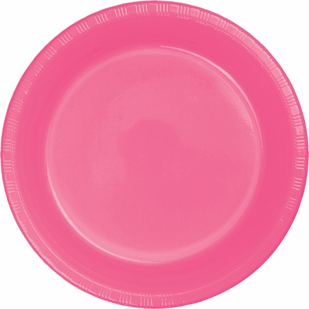 Touch of Color Candy Pink Plastic Dinner Plates in quantities of 20 / pkg, 12 pkgs / case
