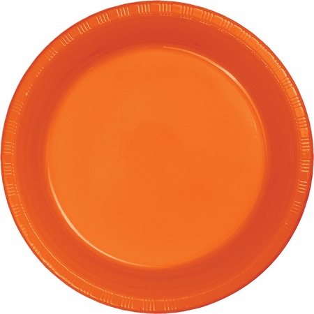 Touch of Color Sunkissed Orange Plastic Dinner Plates in quantities of 20 / pkg, 12 pkgs / case