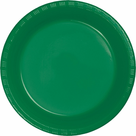 Touch of Color Emerald Green Plastic Dinner Plates in quantities of 20 / pkg, 12 pkgs / case