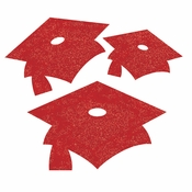 Red Mortarboard Graduation Cutouts 72 ct