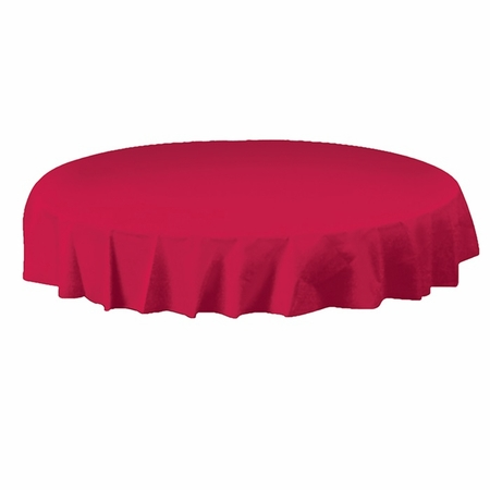 Red Plastic Octy-Round Tablecloths are sold in quantities of 1 / pkg, 12 pkgs / case